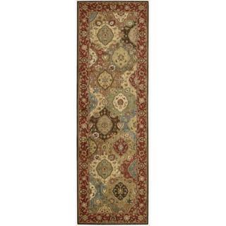 Living Treasures Burgundy Runner Rug (2'6 x 12)