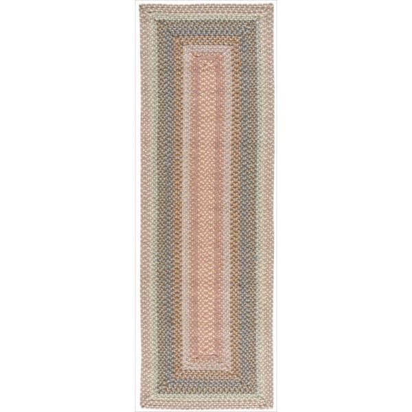 Hand-woven Craftworks Braided Coral Multi Color Runner Rug (2'3 x 7') - 2'3 x 7'