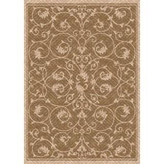 Woven Indoor/ Outdoor Antibes Light Brown/ Gold Patio Rug (5'3x7'6)
