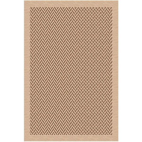 Woven Herringbone Beige/ Brown Indoor/ Outdoor Patio Rug (7'9 x 11')