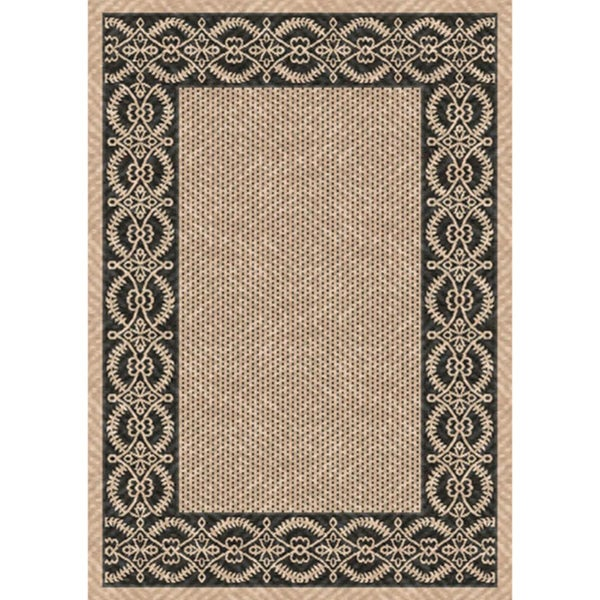 Woven barrymore beige black indoor outdoor patio rug 5 for Woven vinyl outdoor rugs
