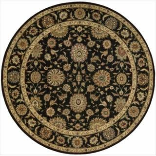 Living Treasures Black Round Rug (5'10 x 5'10)