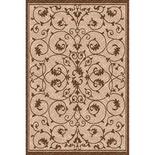 Woven Antibes Beige/ Light Brown Indoor/ Outdoor Patio Rug (5'3 x 7'6)