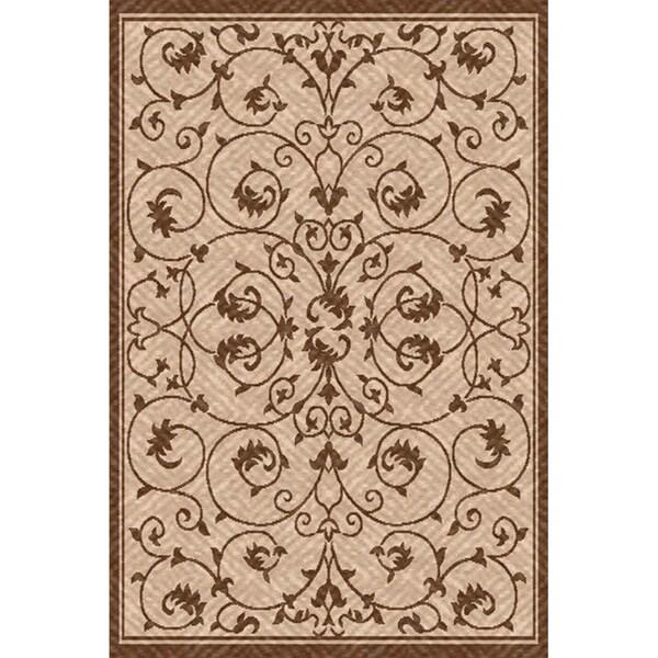 Woven Antibes Beige/ Light Brown Indoor/ Outdoor Patio Rug (6'7 x 9'6)