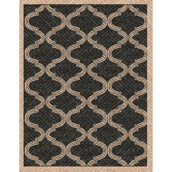 Woven Bombay Black/ Beige Indoor/ Outdoor Patio Rug (5'3 x 7'6)