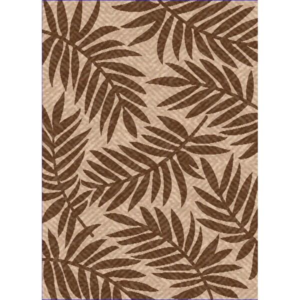 Woven Indoor/ Outdoor Captiva Beige/ Brown Patio Rug (5'3 x 7'6)
