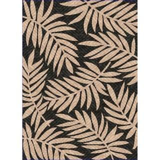 Woven Indoor/ Outdoor Captiva Black/ Beige Patio Rug (5'3 x 7'6)