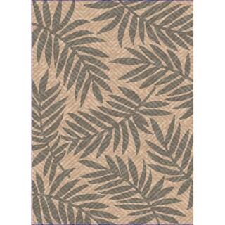 Woven Indoor/ Outdoor Captiva Beige/ Grey Patio Rug (5'3 x 7'6)