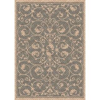 Woven Indoor/ Outdoor Antibes Grey/ Beige Patio Rug (5'3 x 7'6)