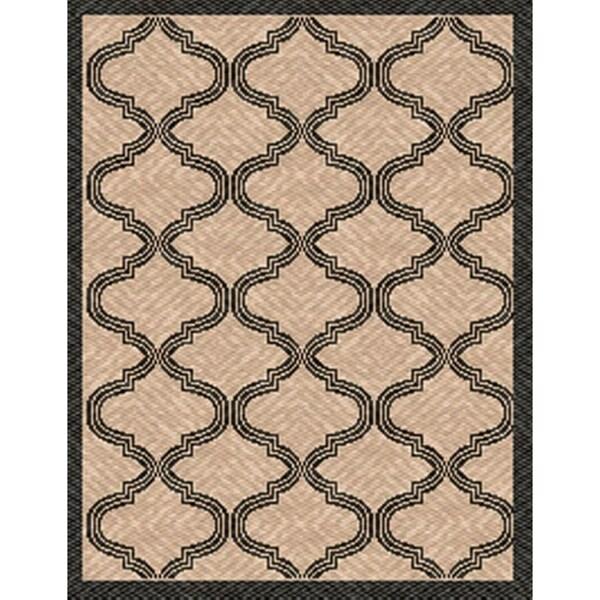 Woven Indoor/ Outdoor Bombay Beige/ Black Patio Rug (5'3 x 7'6)