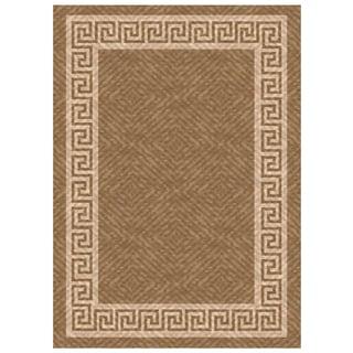 Woven Indoor/ Outdoor Greek Key Lt Brown/ Beige Patio Rug (5'3 x 7'6)