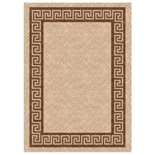 Woven Indoor/ Outdoor Greek Key Beige/ Brown Patio Rug (5u00273 X
