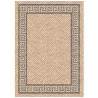 Woven Indoor/ Outdoor Greek Key Beige/ Grey Patio Rug (5'3 x 7'6)