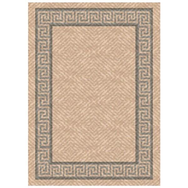 Woven Indoor Outdoor Greek Key Beige Grey Patio Rug 5 3