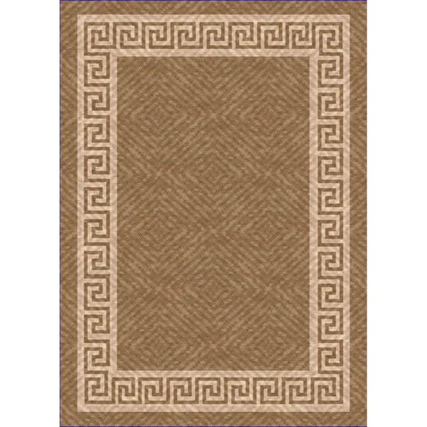 Woven Indoor/ Outdoor Greek Key Lt Brown/ Beige Patio Rug (7'9 x 11')