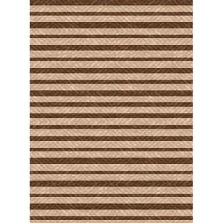 Woven Indoor/ Outdoor Summer Stripe Beige/ Brown Patio Rug (5'3 x 7'6)
