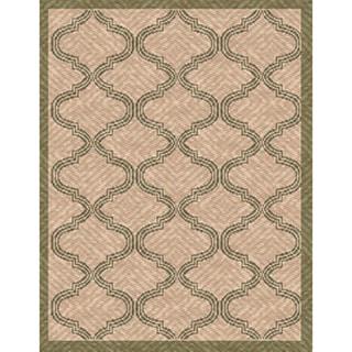 Woven Indoor/ Outdoor Bombay Beige/ Green Patio Rug (5'3 x 7'6)