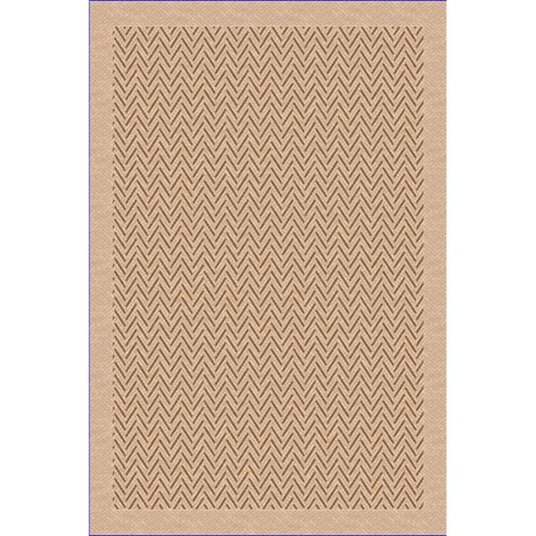 Woven Indoor/ Outdoor Herringbone Lt Brown/ Beige Patio Rug (7'9 x 11')