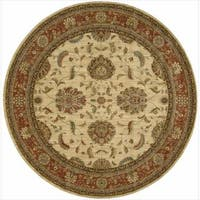 Living Treasures Ivory Red Round Rug (5'10 x 5'10) - 5'10 x 5'10
