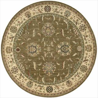 Living Treasures Khaki Round Rug (5'10 x 5'10)