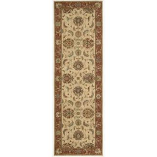 Living Treasures Ivory Red Runner Rug (2'6 x 12')