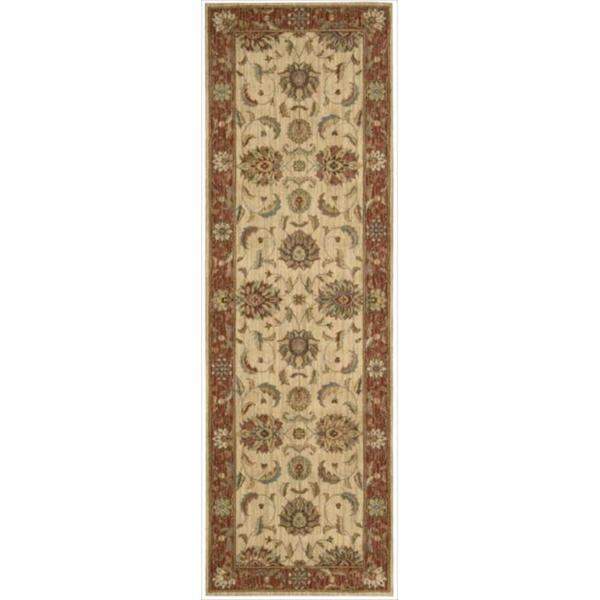 Living Treasures Ivory Red Runner Rug (2'6 x 12')