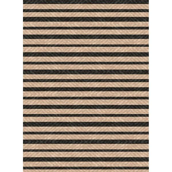 Woven Indoor Outdoor/ Summer Stripe Beige/ Black Patio Rug (5'3 x 7'6)