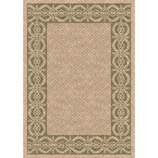 Woven Indoor/ Outdoor Barrymore Beige/ Green Patio Rug (5'3 x 7'6)