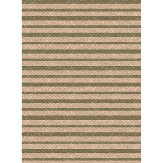 Woven Indoor/ Outdoor Summer Stripe Beige/ Green Patio Rug (5'3 x 7'6)