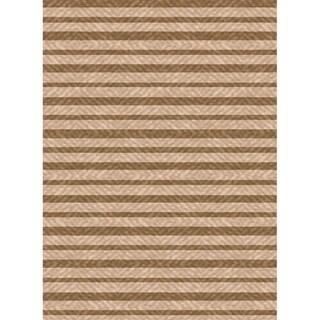 Woven Indoor Outdoor/ Summer Stripe Beige/ Lt Brown Patio Rug (5'3 x 7'6)