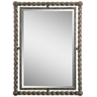 Uttermost Garrick Rust Wash Wrought Iron Framed Beveled Mirror