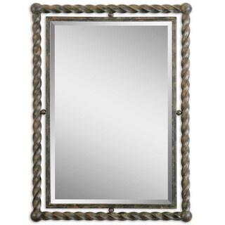 Uttermost Garrick Rust Wash Wrought Iron Framed Beveled Mirror