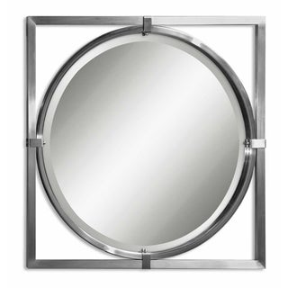 Uttermost Kagami Square Nickel Beveled Round Mirror