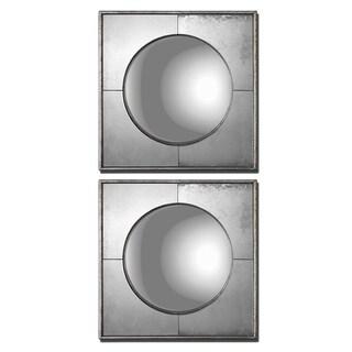 Uttermost Savio Silver Leaf Square Framed Convex Mirrors (Set of 2)