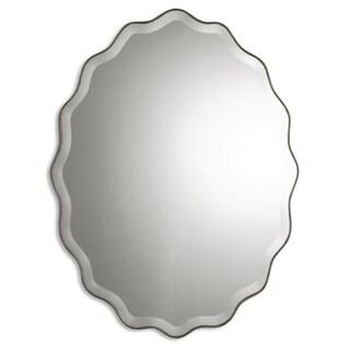 Uttermost Teodora Antiqued Ruffled Beveled Oval Mirror