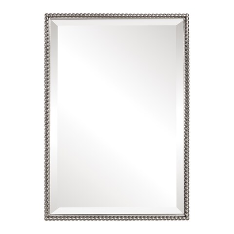 Uttermost Sherise Brushed Nickel Bead Framed Beveled Mirror - Brushed Nickel