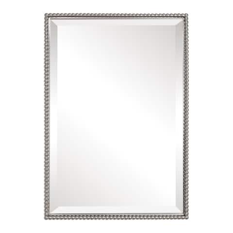 Uttermost Sherise Brushed Nickel Bead Framed Beveled Mirror - Brushed Nickel - 21x31x1.5