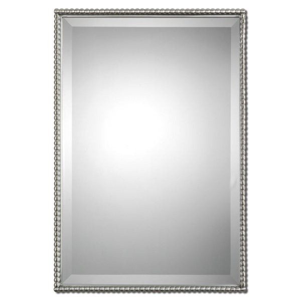 Shop Uttermost Sherise Brushed Nickel Bead Framed Beveled Mirror ...