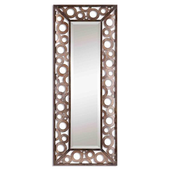 Uttermost Agusto Chestunt Open Circles Metal Framed Beveled Mirror