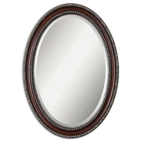 Shop Uttermost Montrose Mahogany Antiqued Silver Beveled Oval Frame
