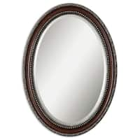 Uttermost Montrose Mahogany/ Antiqued Silver Beveled Oval Frame