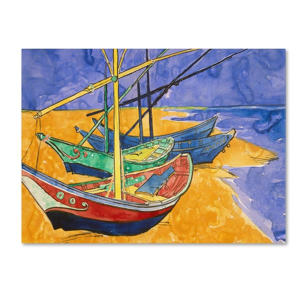 Vincent Van Gogh 'Fishing Boats on the Beach' Canvas Art