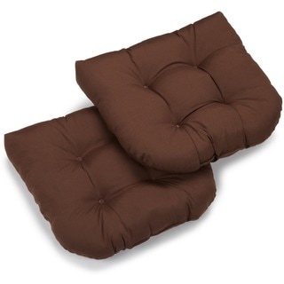 Blazing Needles Earthtone19-inch U-shaped Tufted Twill Chair Cushions (Set of 2)