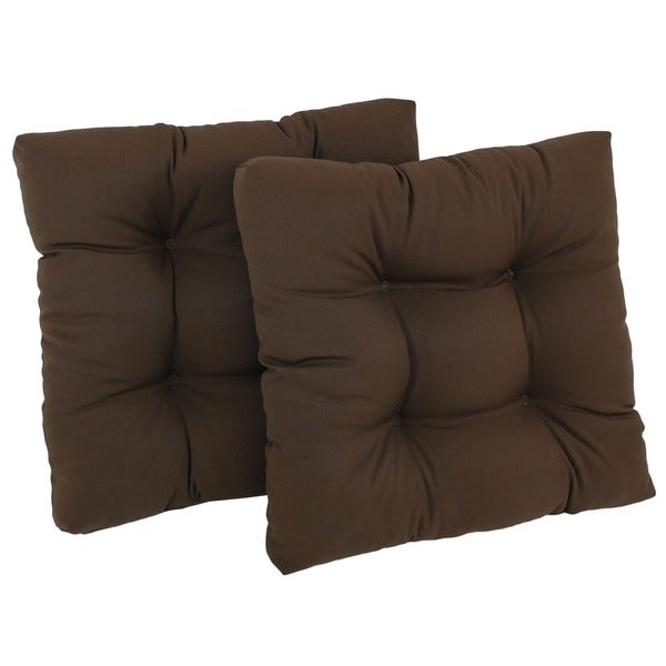 Blazing Needles 19-inch Square Tufted Twill Chair Cushions (Set of 2)