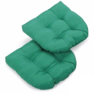 Blazing Needles Tropical 19-inch U-shaped Tufted Twill Chair Cushions (Set of 2)
