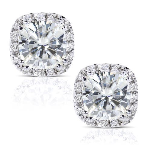 Annello by Kobelli 14k White Gold 2 7/8ct TGW Cushion 6.5MM Moissanite (H-I) and Diamond Halo Stud Earrings