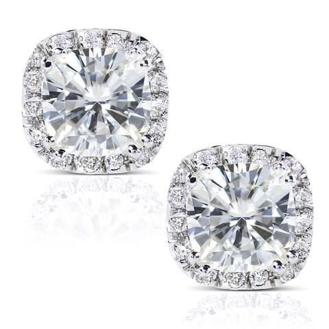 Annello by Kobelli 14k White Gold 2 7/8ct TGW Cushion 6.5MM Moissanite (H-I) and Diamond Halo Stud Earrings