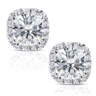 Annello 14k White Gold Moissanite and 1/4ct TDW Diamond Stud Earrings (G-H, I1-I2)