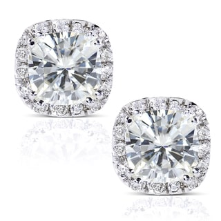 Annello by Kobelli 14k White Gold Moissanite and 1/4ct TDW Diamond Stud Earrings (G-H, I1
