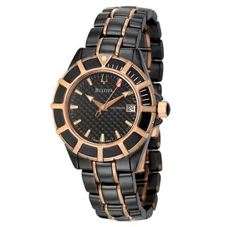 Bulova Accutron Men's 'Mirador' Black Ceramic and Rose Goldplated Swiss Automatic Watch